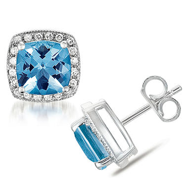 3.25 ct. Cushion-Cut Blue Topaz Earrings