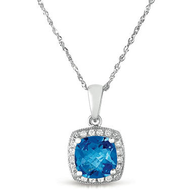 1.5 ct. Cushion-Cut Blue Topaz & .08 ct. t.w. Diamond Accent Pendant