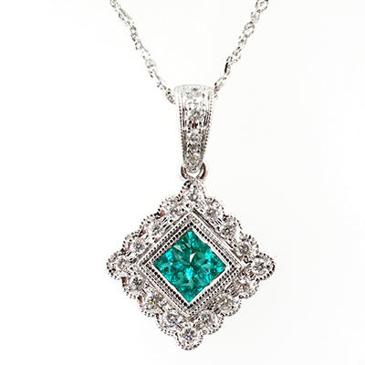 .20 ct. t.w. Emerald & .15 ct. t.w. Diamond Pendant