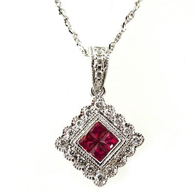 .30 ct. t.w. Ruby and .15 ct. t.w. Diamond Pendant