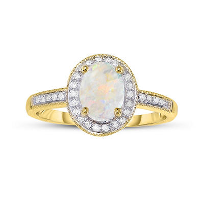 .50 ct. Opal and .15 ct. t.w. Diamond Ring in 14K Yellow Gold