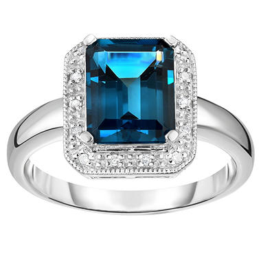 2.50 ct. London Blue Topaz & .08 ct. t.w. Diamond Ring 14K White Gold