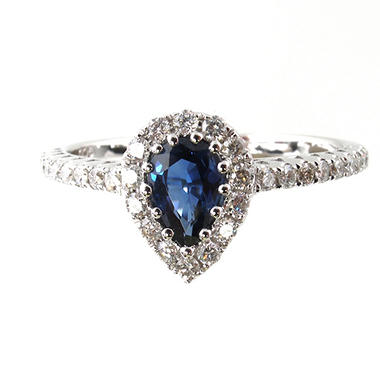 .50 ct. t.w.Blue Sapphire and .30 ct. t.w. Diamond Ring in 14K White Gold