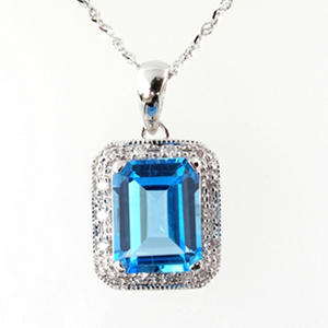 2.5 ct. t.w. Blue Topaz & .08 ct. t.w. Diamond Pendant in 14K White Gold