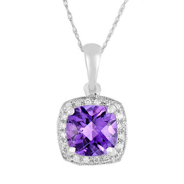 Cushion-Cut Amethyst & Diamond Pendant in 14K White Gold