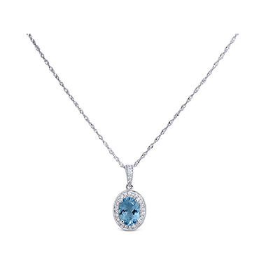 1.0 ct. Aquamarine & Diamond Pendant in 14K White Gold