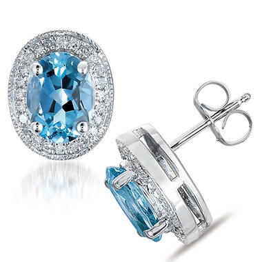 Aquamarine & Diamond Earrings in 14K White Gold