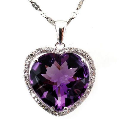 14K Amethyst & Diamond Heart Pendant