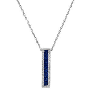 Sapphire Pendant with Diamonds in 14K White Gold