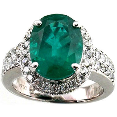 3.77 ct. Oval Cut Emerald Ring and Diamond Ring in 18k White Gold