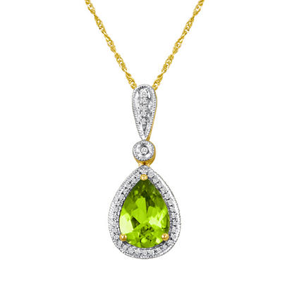 Pear-Shaped Peridot and Diamond Pendant in 14K Yellow Gold
