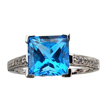 Princess Cut Blue Topaz Ring with Diamonds in 14K White Gold