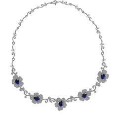 Oval Cut Sapphire Necklace with 6.6 ct. t.w. Diamonds in 18K White Gold