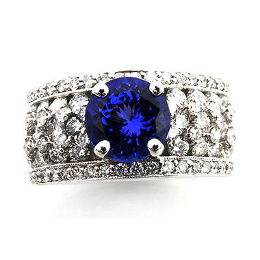 Round Cut Tanzanite Ring with Diamonds in 18k White Gold