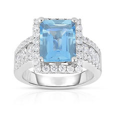 Emerald Cut Aquamarine Ring with Diamonds in 14k White Gold