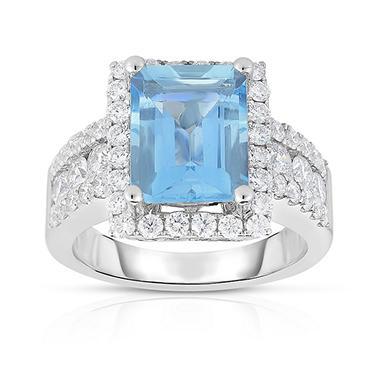 Emerald Cut Aquamarine Ring with Diamonds in 14k White Gold