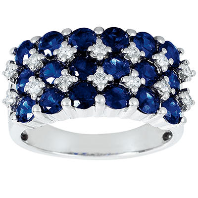 Round Shaped Sapphire Ring with Diamonds in 14K White Gold