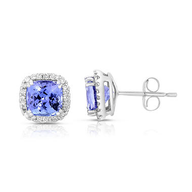 Cushion Shaped Tanzanite Earrings with Diamonds in 14K White Gold