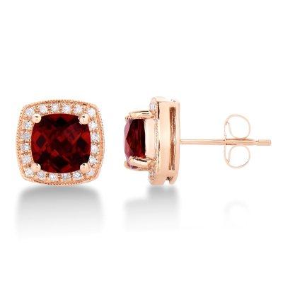 SALE Cushion Shaped Garnet Earrings with Diamonds JE3792GA14KR