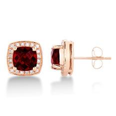 Cushion Shaped Garnet Earrings with Diamonds in 14K Rose Gold