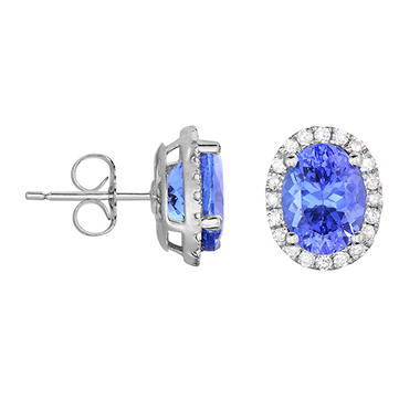 Oval Shaped Tanzanite Earrings with Diamonds in 14K White Gold