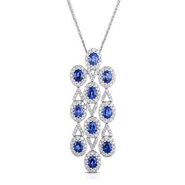 Oval Shaped Sapphire Pendant with Diamonds in 18K White Gold