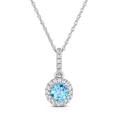 Round Shaped Blue Topaz Pendant with White Topaz in 14K White Gold