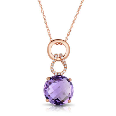 Round Amethyst Pendant with Diamonds in 14K Rose Gold