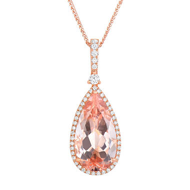 Pear Shaped Morganite Pendant with Diamonds in 18K Rose Gold