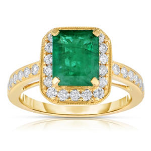 Emerald Ring with Diamonds in 14K Yellow Gold