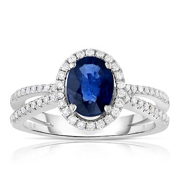 Oval Shaped Sapphire Ring with Diamonds in 14K White Gold
