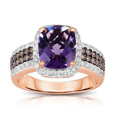 Cushion shaped Amethyst Ring with Diamonds in 14K Rose Gold