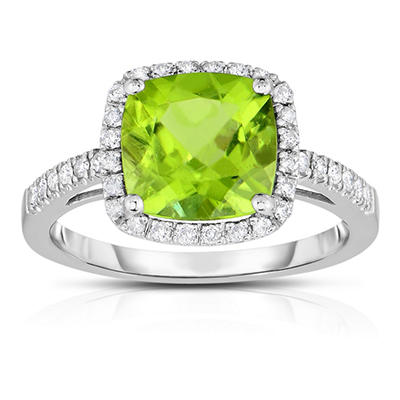 Cushion Shaped Peridot Ring with Diamonds in 14K White Gold