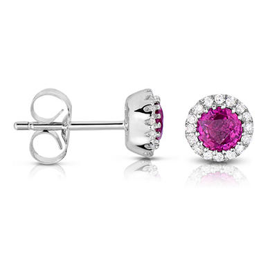 Round Shaped Natural Ruby Earrings with Diamonds in 14K White Gold