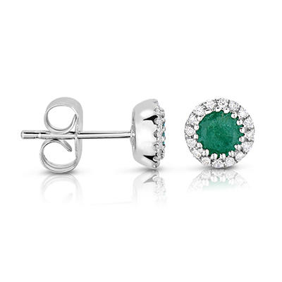 Round Shaped Emerald Earring with Diamonds in 14K White Gold