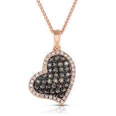 .30 CT. T.W. Round Cut Diamond Heart Pendant in 14K Rose Gold