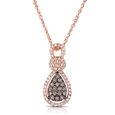 .30 CT. T.W. Round Cut Diamond Pendant in 14K Rose Gold (I, I1)