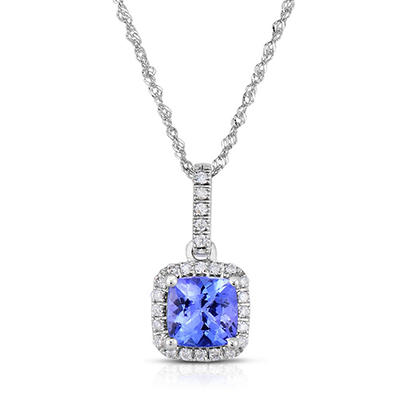 Cushion Shaped Tanzanite Pendant with Diamonds in 14K White Gold