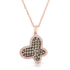 .53 CT. T.W. Round Cut Diamond Butterfly Pendant in 14K Rose Gold (I, I1)