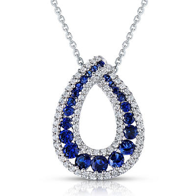 Round Shaped Created Sapphire Pendant with Created White Sapphire in Sterling Silver