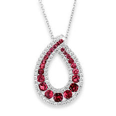 Round Shaped Created Ruby Pendant with Created White Sapphire in Sterling Silver