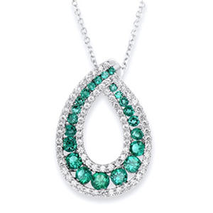 Round Shaped Created Emerald Pendant with Created White Sapphire in Sterling Silver