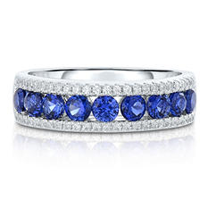 Round Shaped Created Sapphire Ring with Created White Sapphire in Sterling Silver
