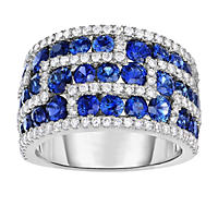 Round Shaped Sapphire Ring with Diamonds in 18K White Gold