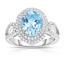Click here for Oval Shaped Aquamarine Ring with Diamonds in 14K W... prices