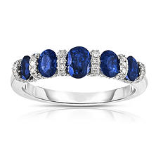 Oval-Shaped Sapphire Ring with Diamonds in 14K White Gold