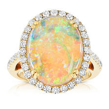 Oval-Shaped Opal Ring with Diamonds in 18K Yellow Gold