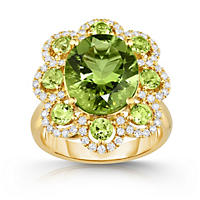 Oval Shaped Peridot Ring with Diamonds in 18K Yellow Gold
