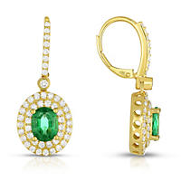 Oval Shaped Oiled Emerald Earring with Diamonds in 18K Yellow Gold