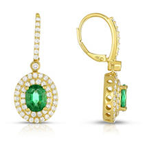 Click here for Oval Shaped Oiled Emerald Earring with Diamonds in... prices